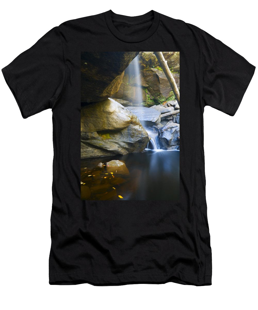 Waterfall Men's T-Shirt (Athletic Fit) featuring the photograph Misty Fall by Alexey Stiop