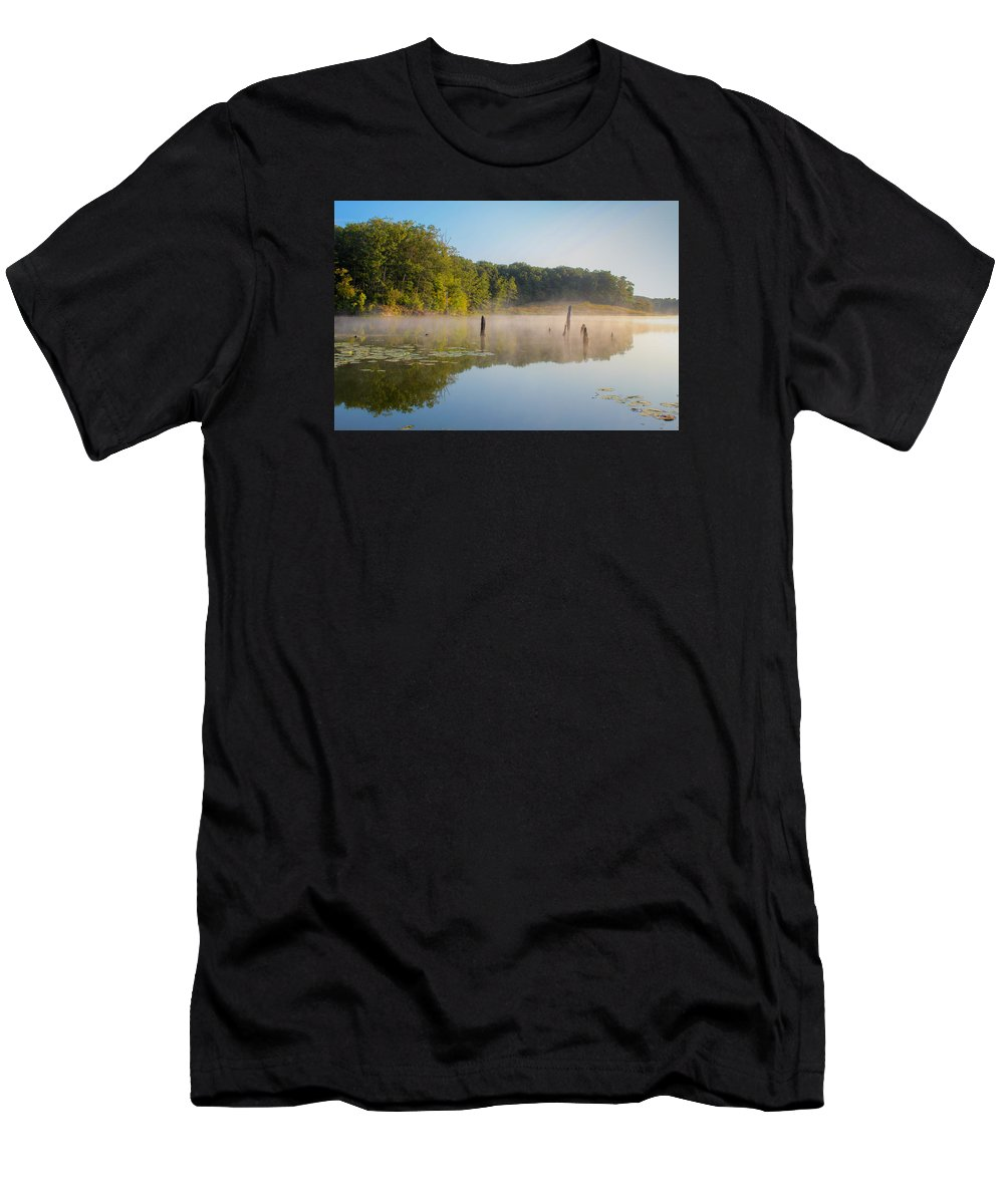Mist Men's T-Shirt (Athletic Fit) featuring the photograph Misty Morning Lake by Harold Hopkins