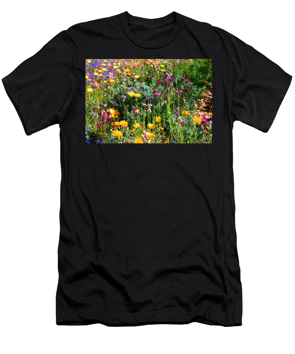 Wildflower Men's T-Shirt (Athletic Fit) featuring the photograph Mixed Wildflowers by Kathryn Meyer