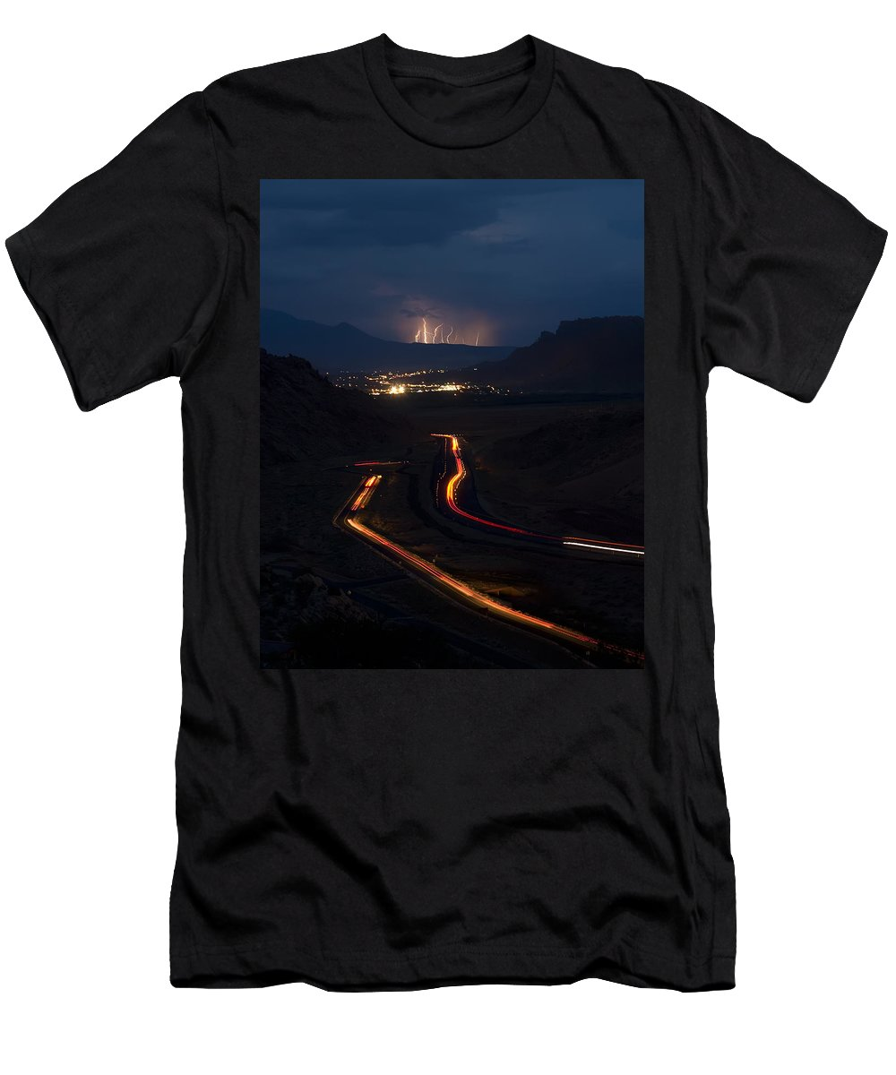 3scape Photos Men's T-Shirt (Athletic Fit) featuring the photograph Moab Storm by Adam Romanowicz