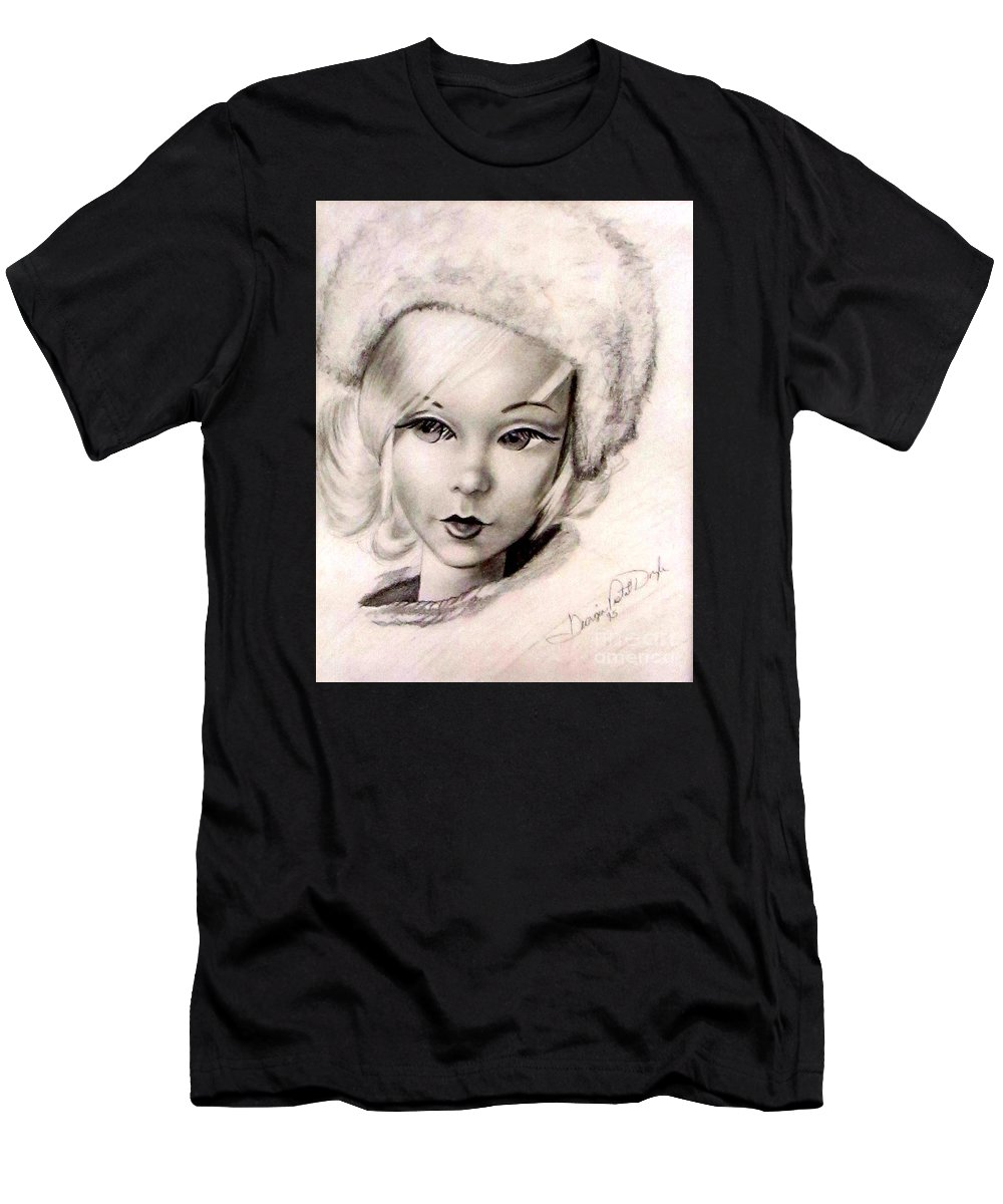 Art Men's T-Shirt (Athletic Fit) featuring the drawing Mod Talker Barbie by Georgia's Art Brush