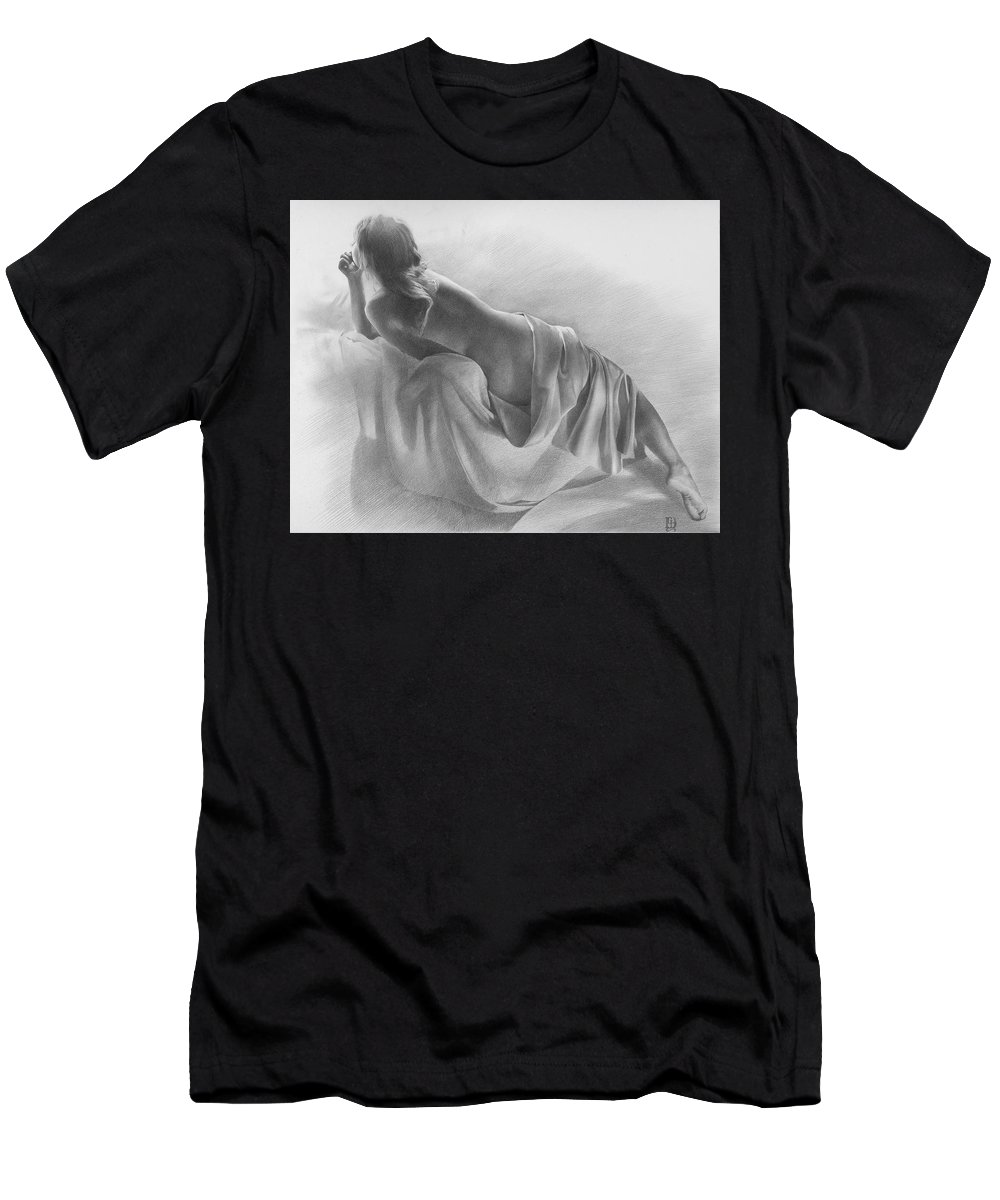 Men's T-Shirt (Athletic Fit) featuring the drawing Model In Drapery 2003 by Denis Chernov