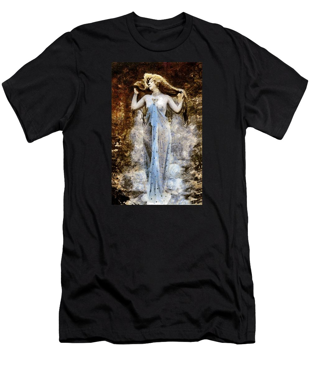 Woman Men's T-Shirt (Athletic Fit) featuring the mixed media Modern Vintage Lady In Blue by Georgiana Romanovna