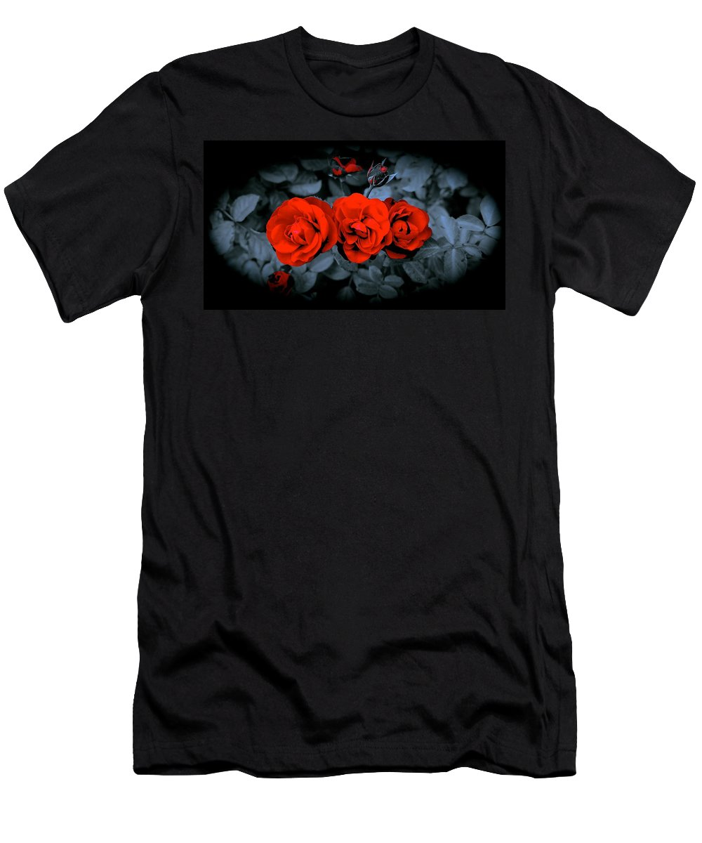 Roses Men's T-Shirt (Athletic Fit) featuring the photograph Moe Larry And Curly by Tim G Ross