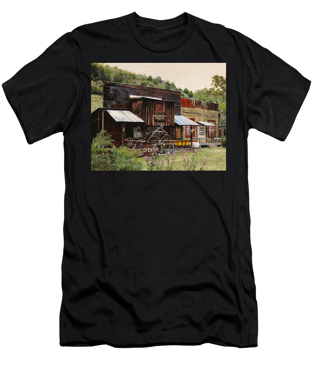 Theatre Men's T-Shirt (Athletic Fit) featuring the painting Mogollon-theatre-new Mexico by Guido Borelli