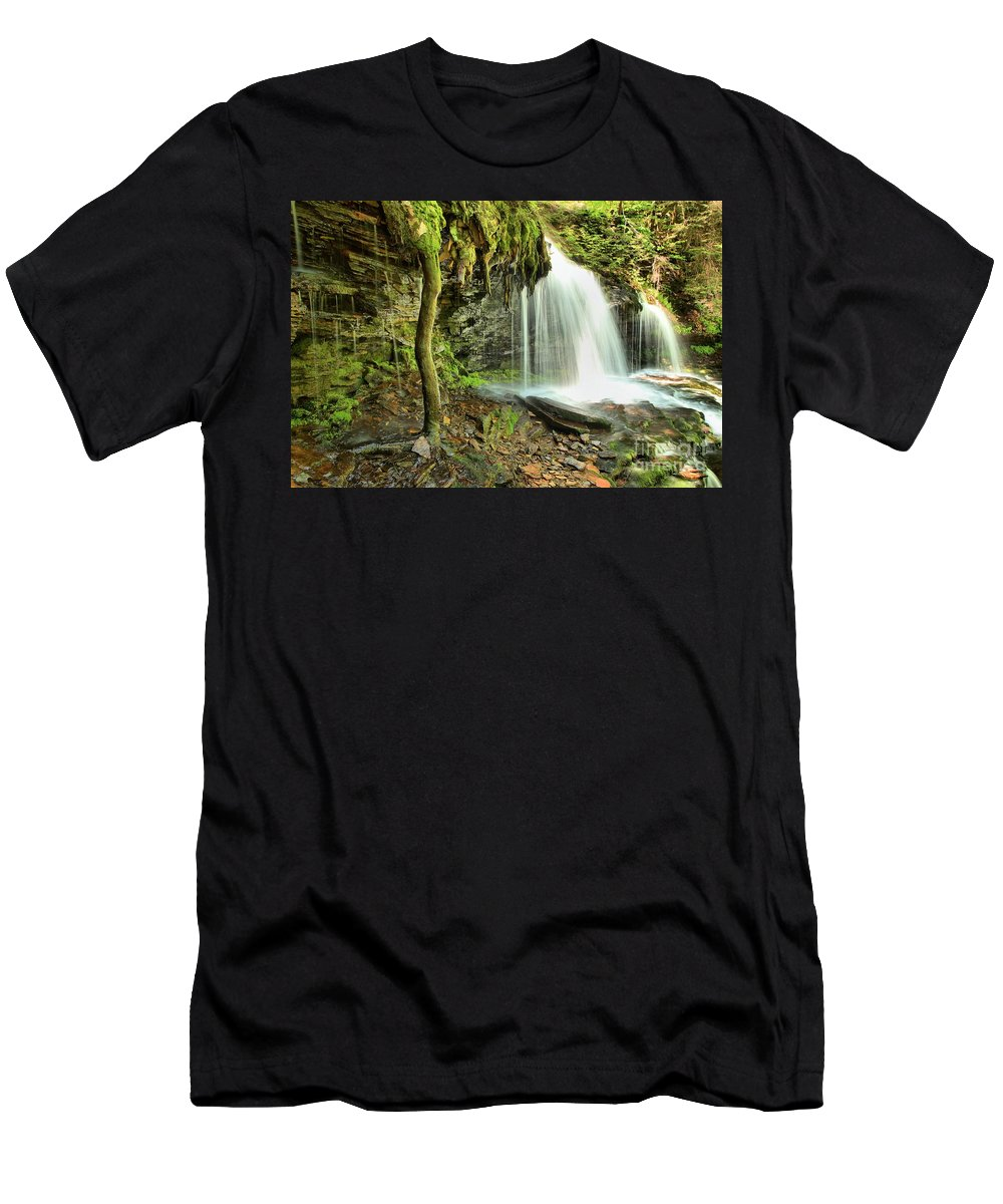 Mohawk Falls Men's T-Shirt (Athletic Fit) featuring the photograph Mohawk Falls At Ricketts Glen by Adam Jewell