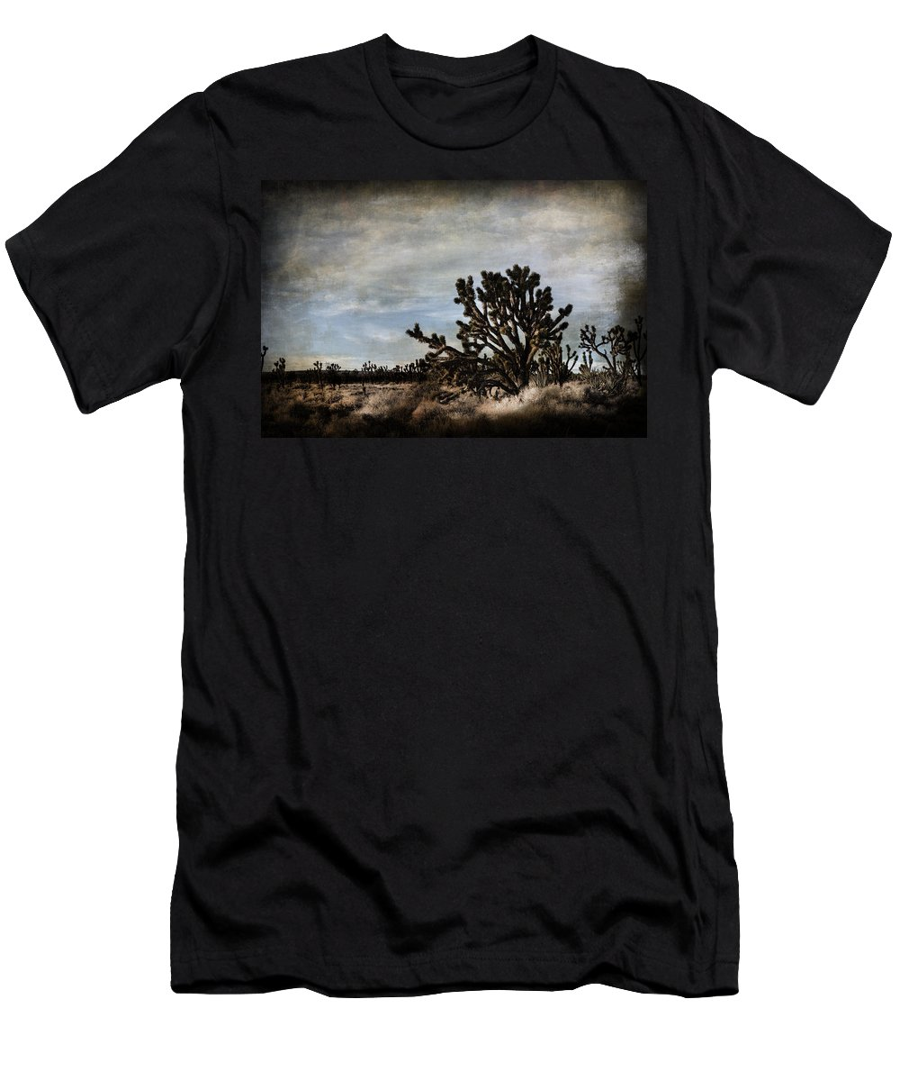 Evie Carrier Men's T-Shirt (Athletic Fit) featuring the photograph Mojave Desert Joshua Tree In Cima by Evie Carrier