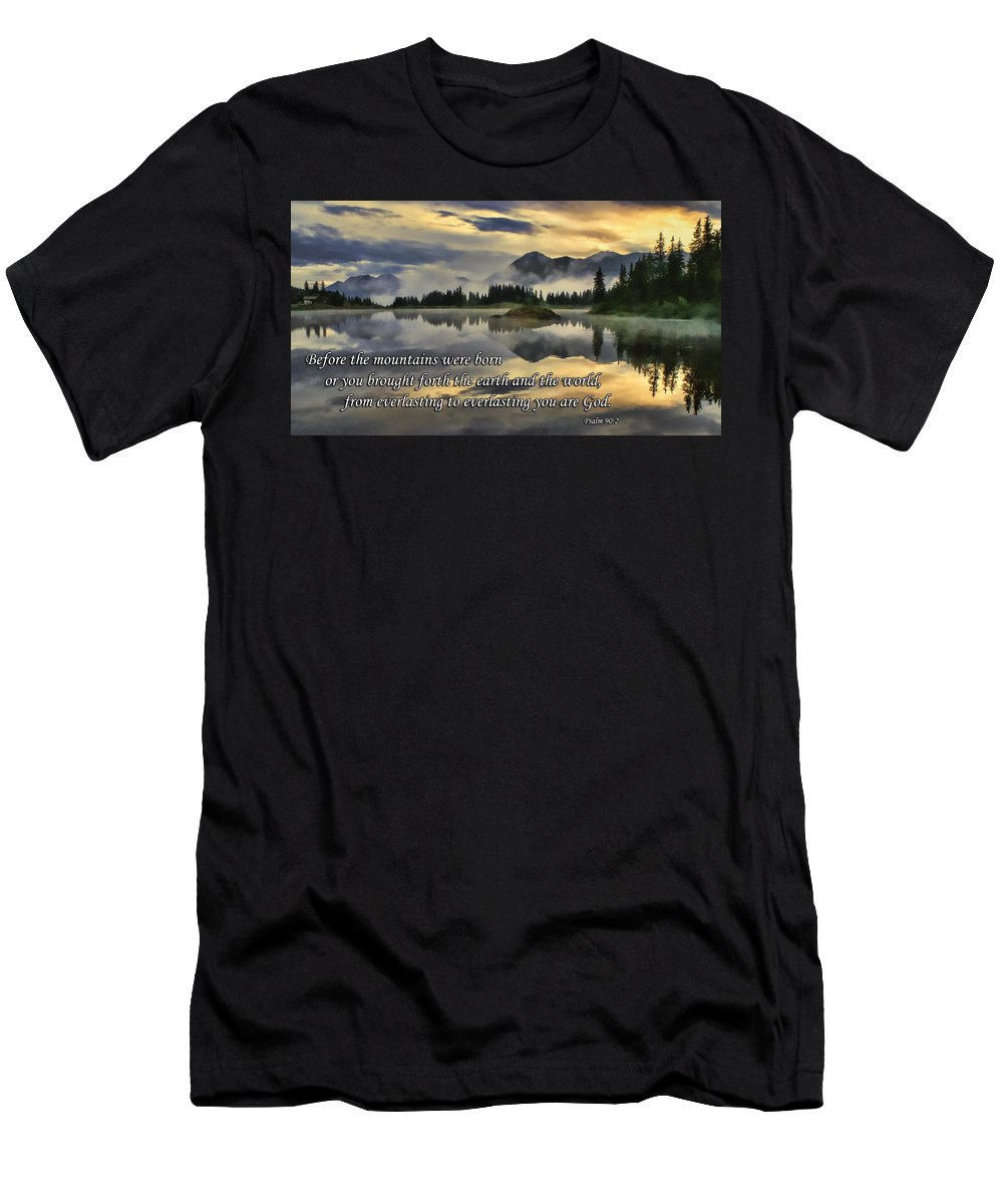 Molas Lake Men's T-Shirt (Athletic Fit) featuring the photograph Molas Lake Sunrise With Scripture by Priscilla Burgers