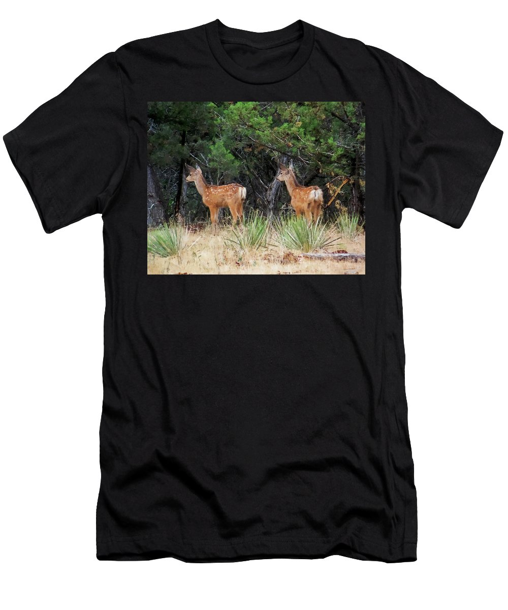 Deer Men's T-Shirt (Athletic Fit) featuring the digital art Mommy Where Are You by Ernie Echols