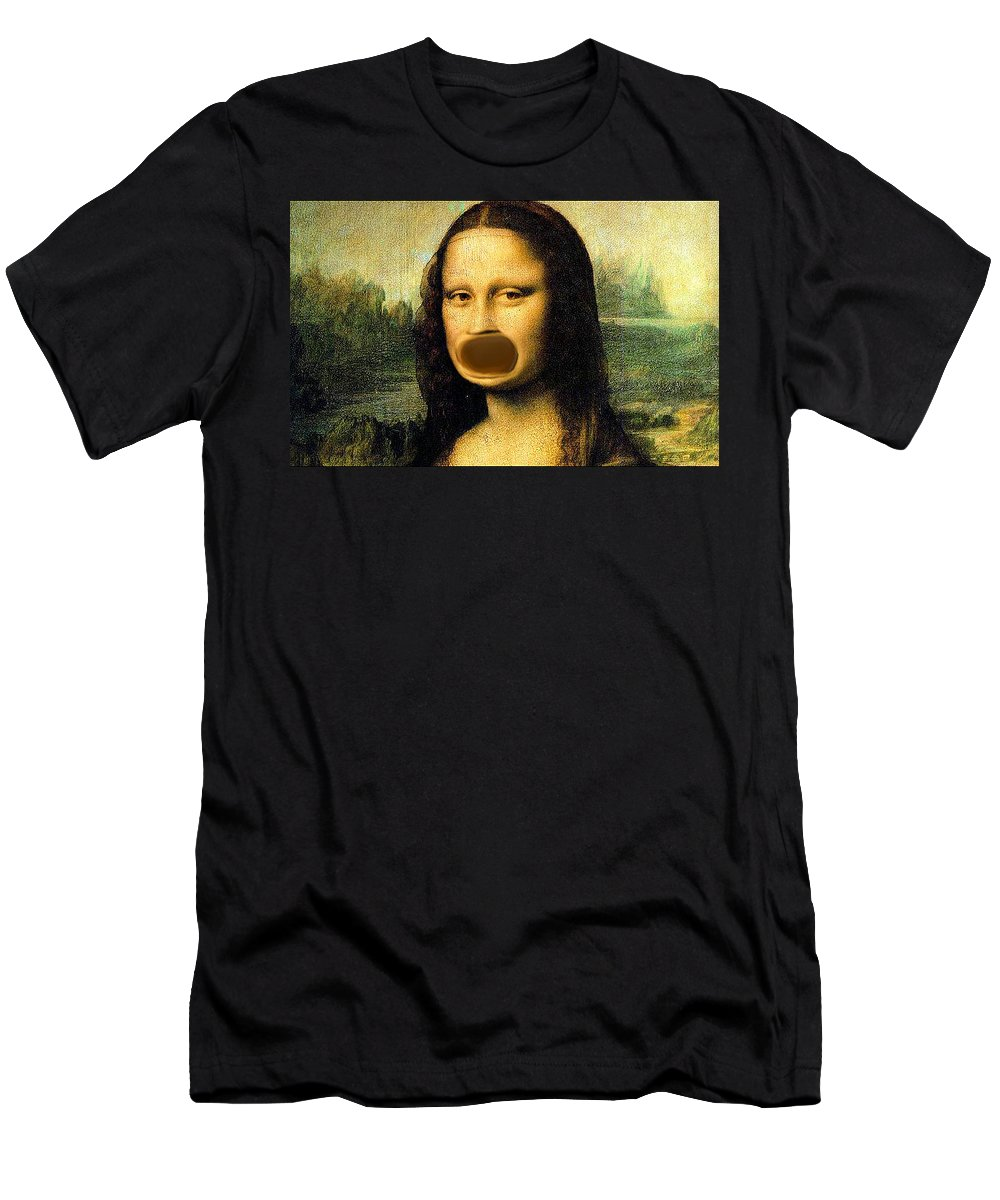 Mona Lisa Men's T-Shirt (Athletic Fit) featuring the painting Mona Lisa At The Dentists Office  Open Wide by Bruce Nutting