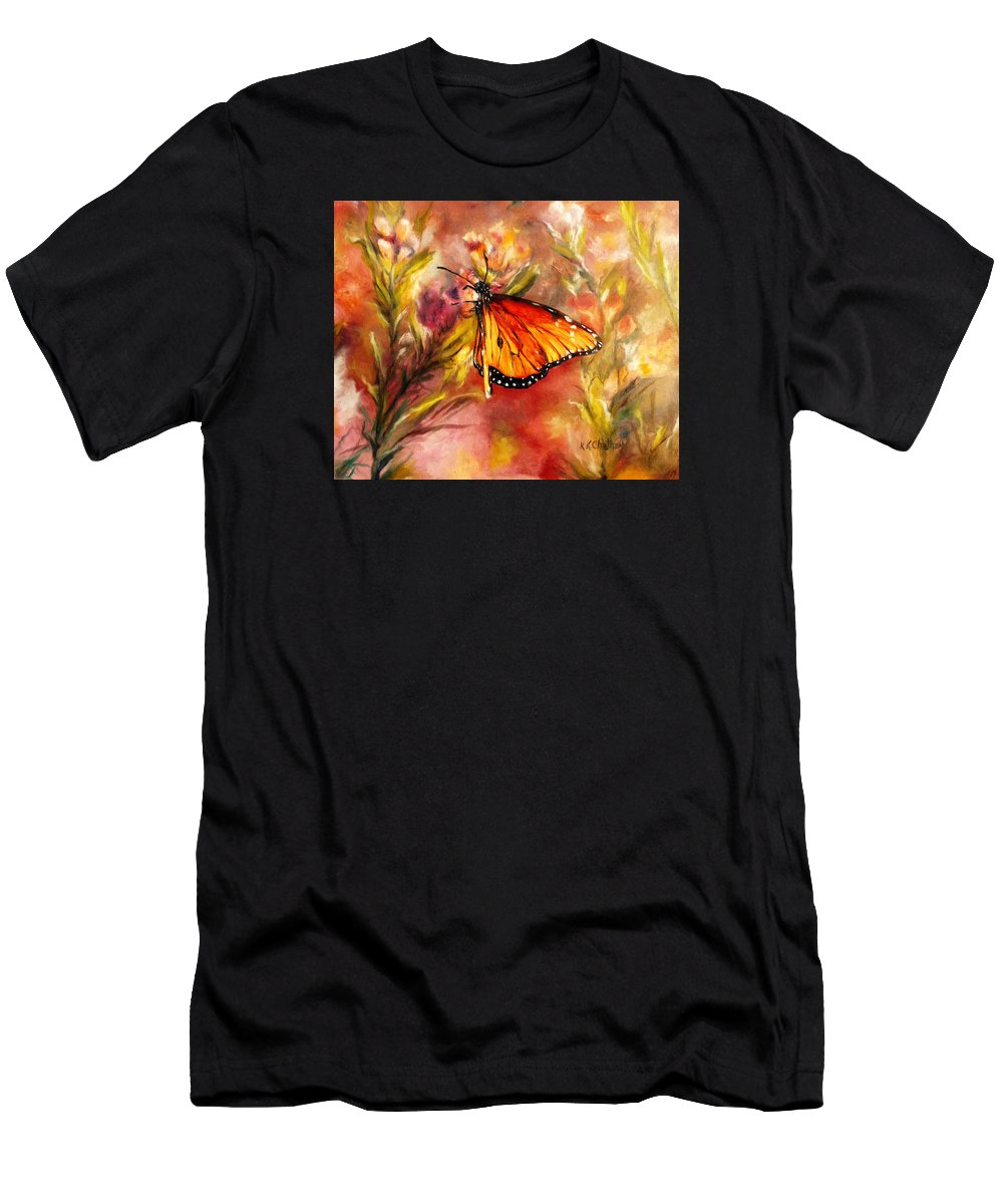 Monarch Beauty Framed Prints Men's T-Shirt (Athletic Fit) featuring the painting Monarch Beauty by Karen Kennedy Chatham