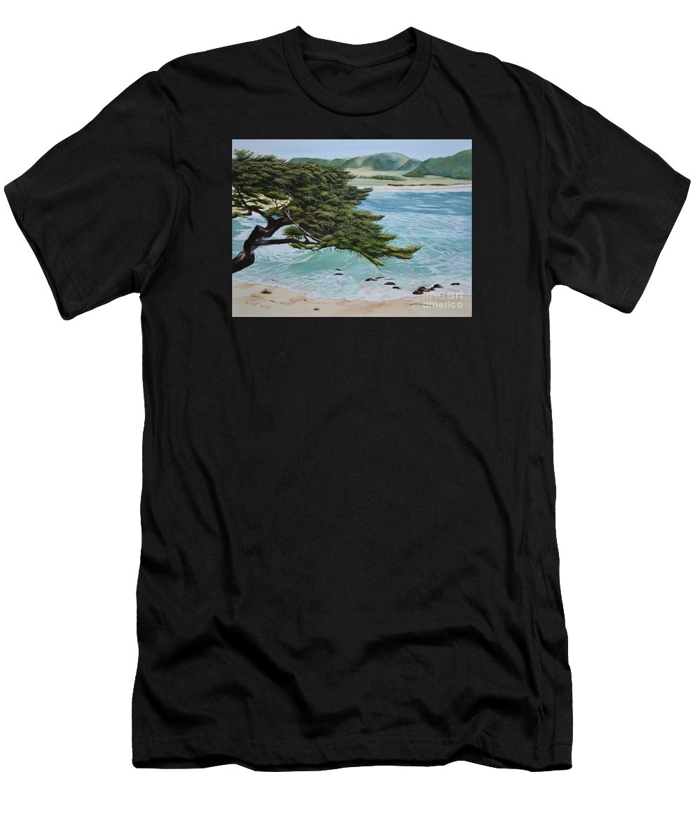 Beach Men's T-Shirt (Athletic Fit) featuring the painting Monastery Beach by Mary Rogers