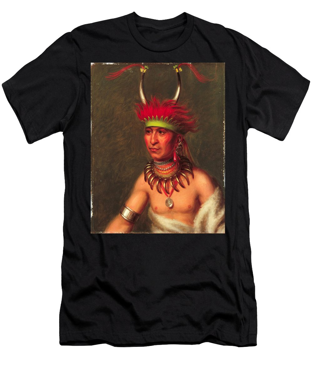 Charles Bird King Men's T-Shirt (Athletic Fit) featuring the painting Monchousia . White Plume Kansa by Charles Bird King
