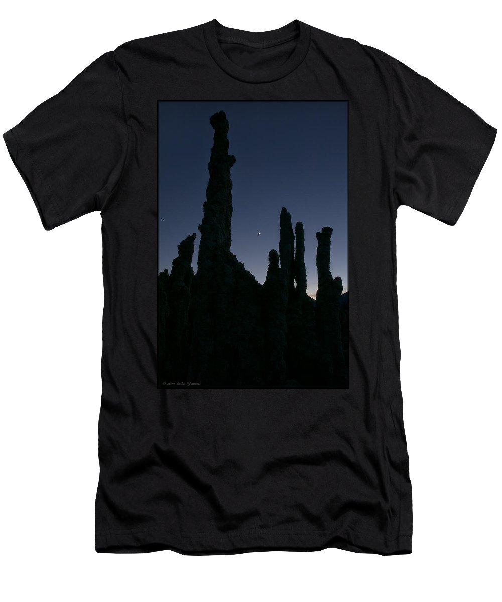 Mono Lake Men's T-Shirt (Athletic Fit) featuring the photograph Mono Lake Tufas Silhouette by Erika Fawcett