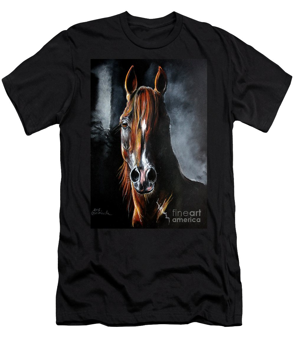 Stallion Men's T-Shirt (Athletic Fit) featuring the drawing Monogramm by Angel Ciesniarska