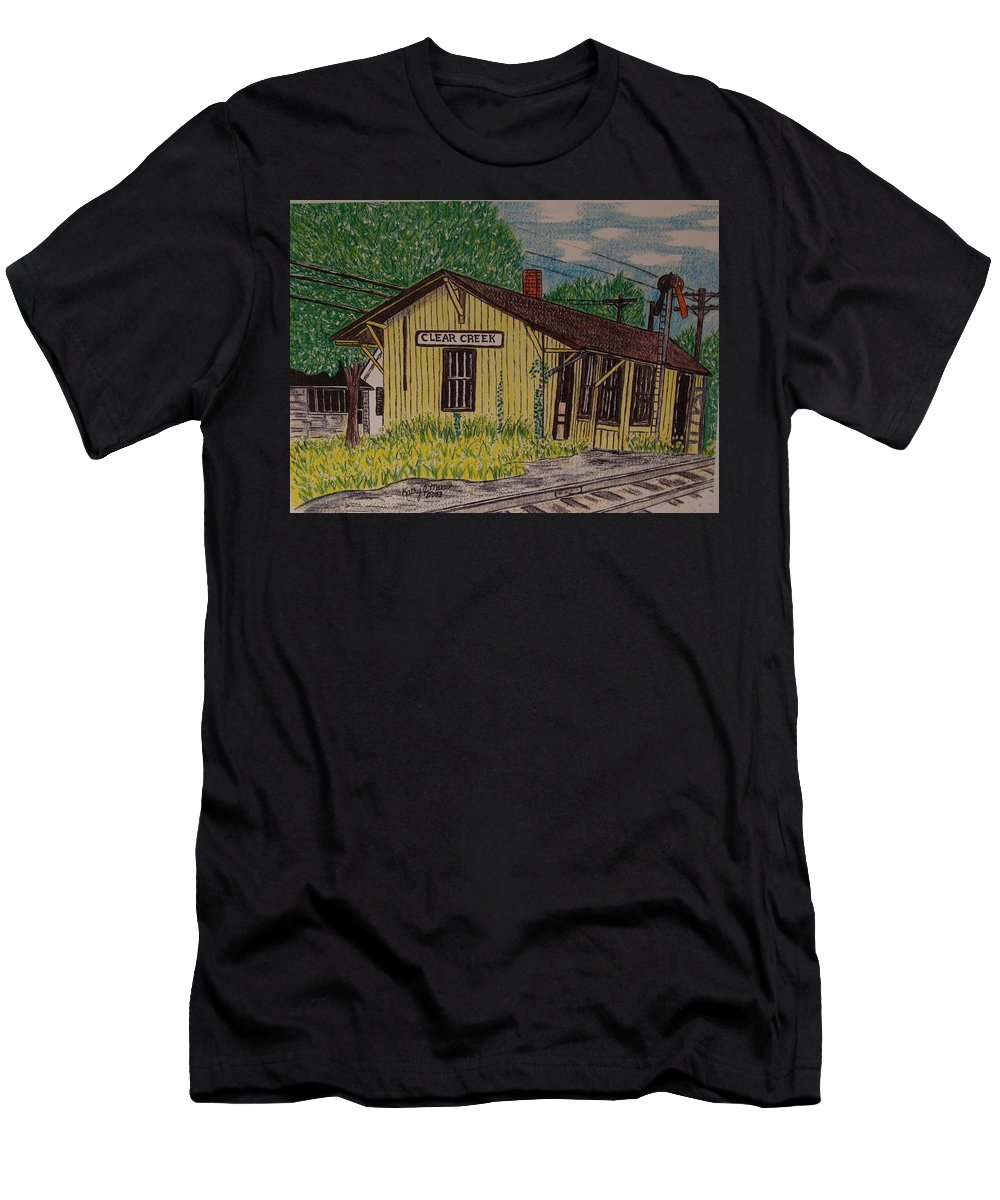 Monon. Monon Train Men's T-Shirt (Athletic Fit) featuring the painting Monon Clear Creek Indiana Train Depot by Kathy Marrs Chandler