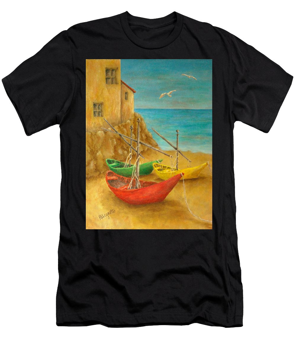 Pamela Allegretto Franz Men's T-Shirt (Athletic Fit) featuring the painting Monterosso On Riviera Di Levante by Pamela Allegretto