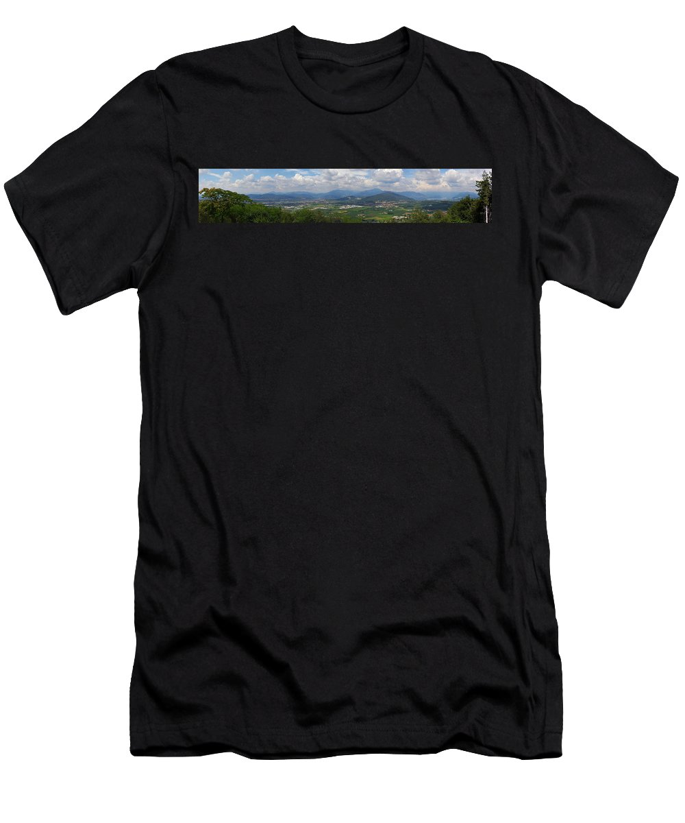 Francacorta Men's T-Shirt (Athletic Fit) featuring the photograph Montorfano. A View To Lake Iseo by Jouko Lehto