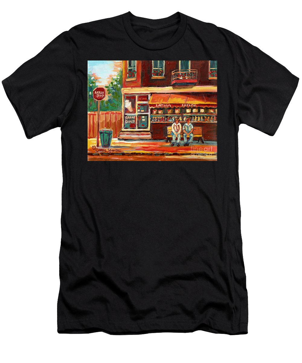 Montreal Men's T-Shirt (Athletic Fit) featuring the painting Montreal Street Scene Paintings by Carole Spandau