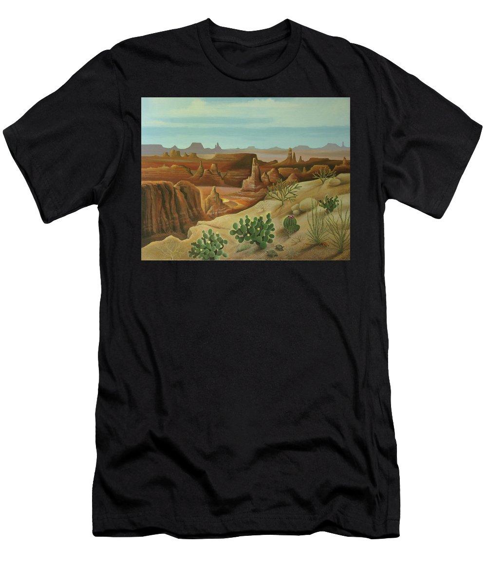 Desert Landscape Men's T-Shirt (Athletic Fit) featuring the painting Monument Valley by Stuart Swartz