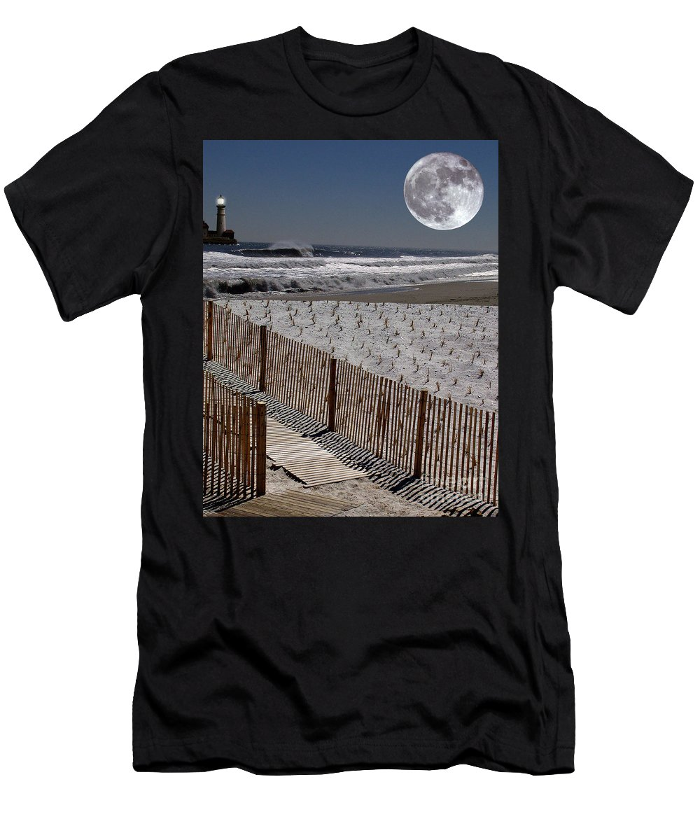Water Men's T-Shirt (Athletic Fit) featuring the digital art Moon Bay by Keith Dillon