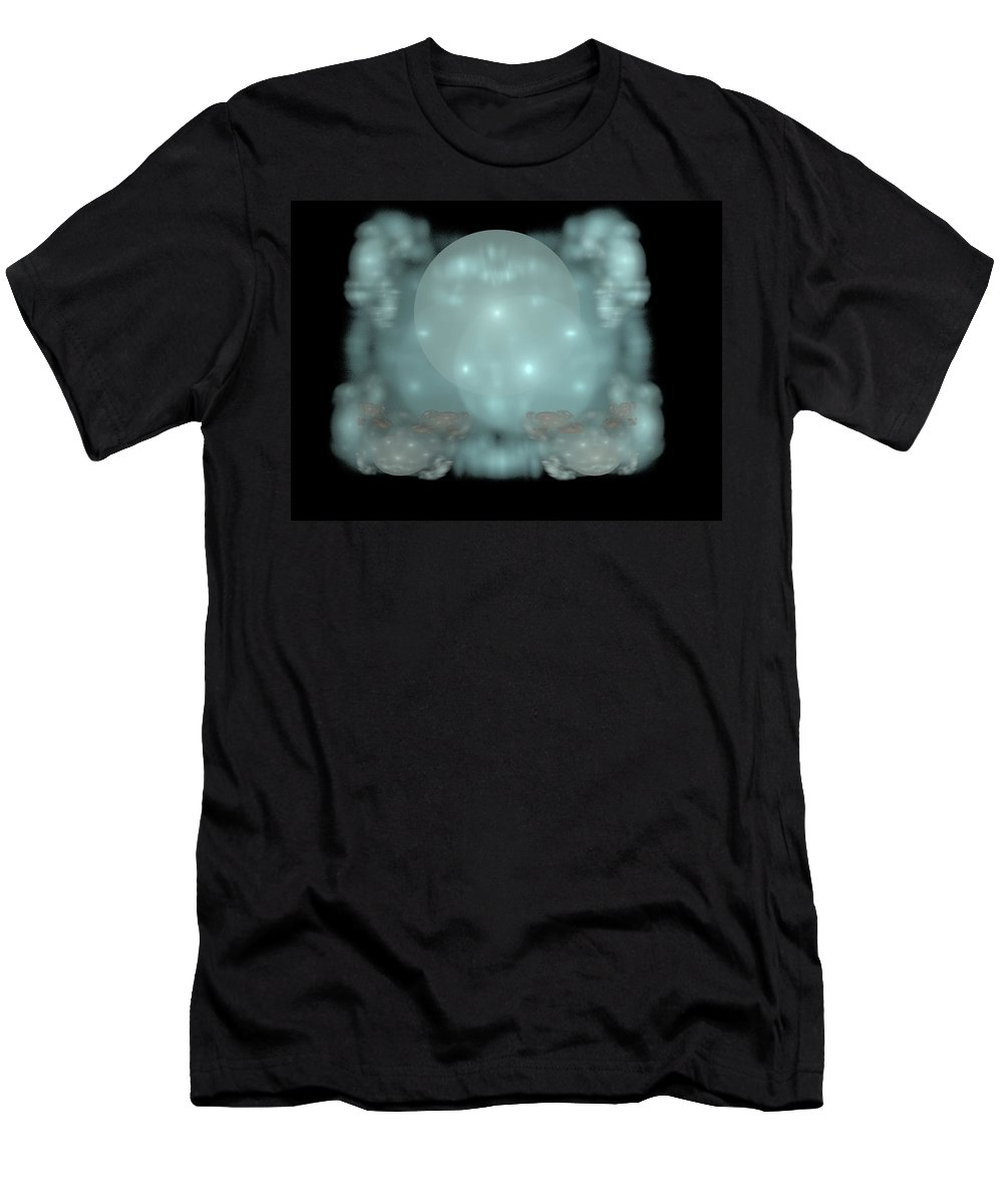 Fractal Men's T-Shirt (Athletic Fit) featuring the painting Moon Stars And Clouds by Bruce Nutting