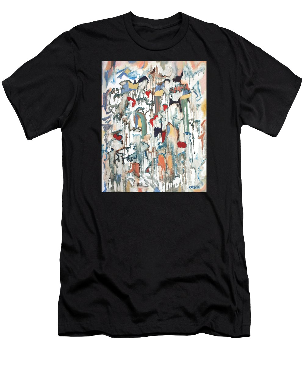 Moon Drops Men's T-Shirt (Athletic Fit) featuring the painting Moondrops by Pamela Parsons