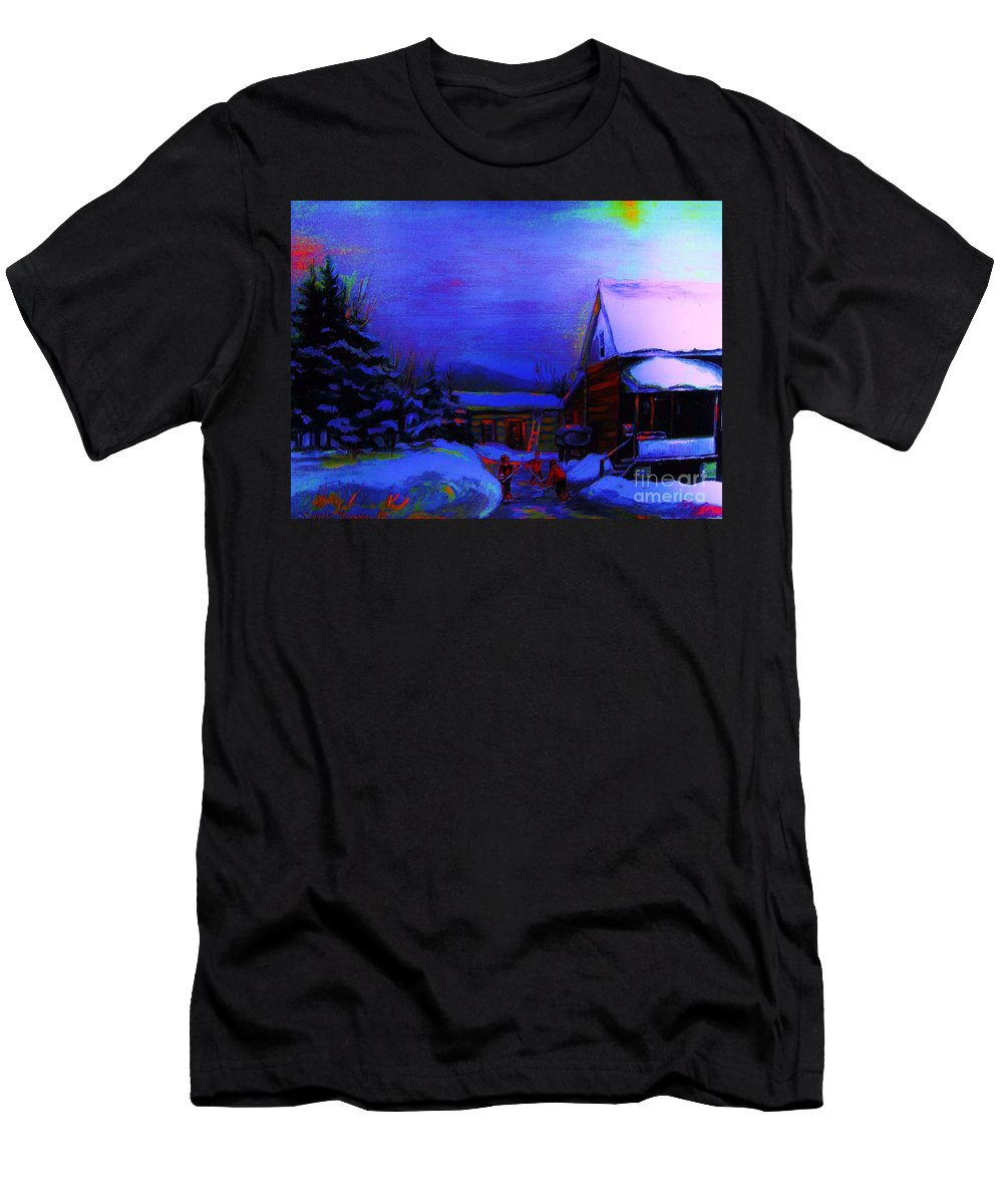 Hockey Men's T-Shirt (Athletic Fit) featuring the painting Moonglow On Powder by Carole Spandau