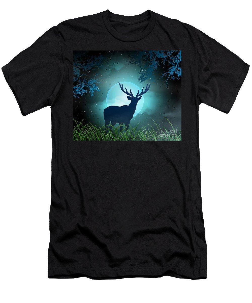 Moonlight T-Shirt featuring the digital art Moonlight Elk by Peter Awax
