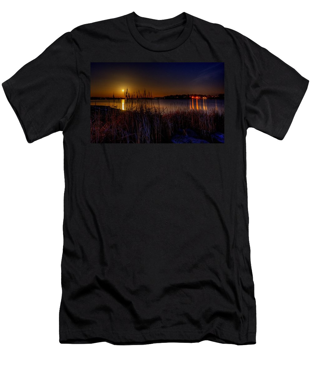 Moonrise Men's T-Shirt (Athletic Fit) featuring the photograph Moonlight On The Lake by David Dufresne