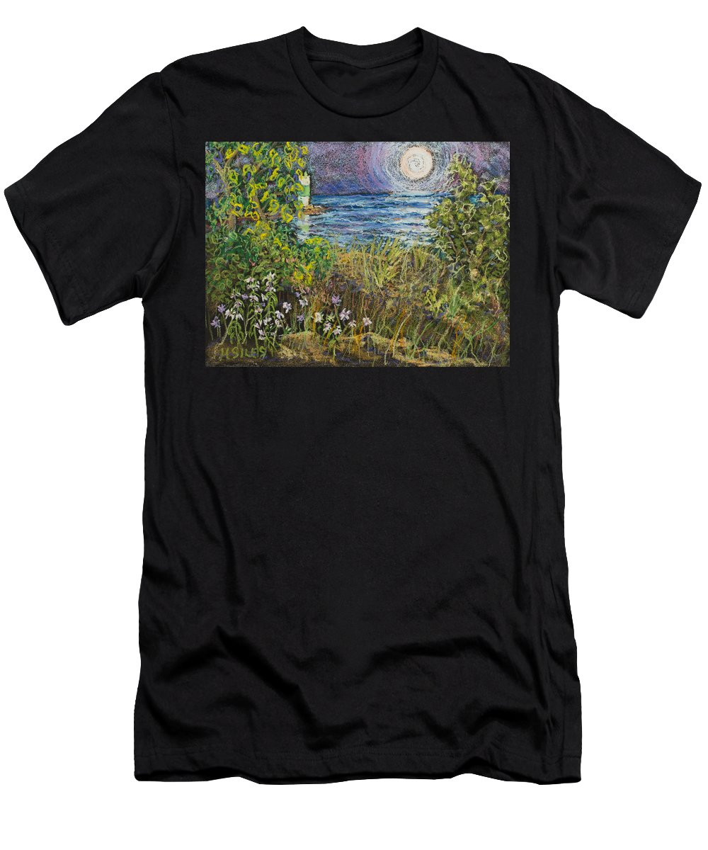 Door County Men's T-Shirt (Athletic Fit) featuring the painting Moonrise At Sunset by Madonna Siles