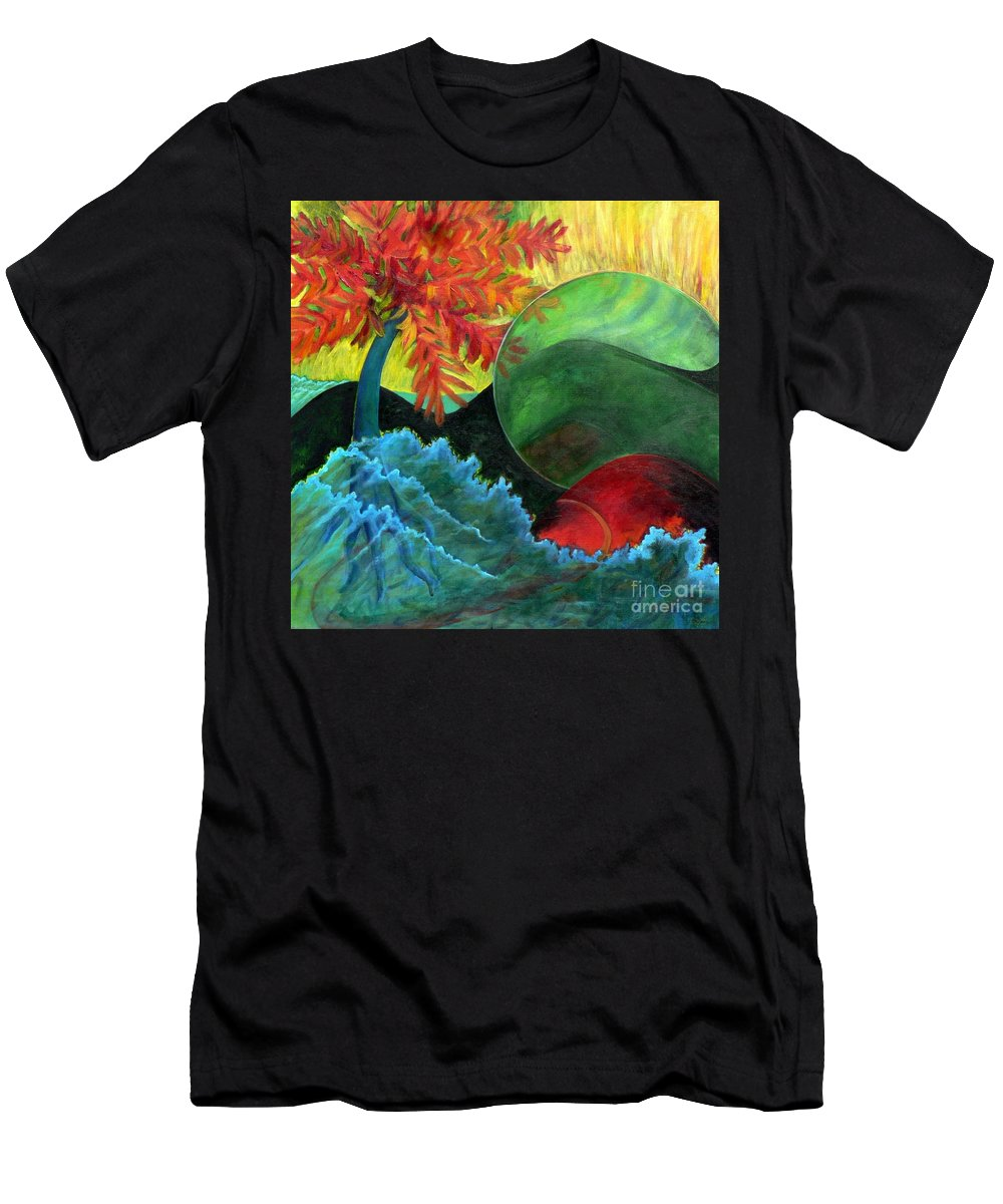 Surreal Landscape Men's T-Shirt (Athletic Fit) featuring the painting Moonstorm by Elizabeth Fontaine-Barr