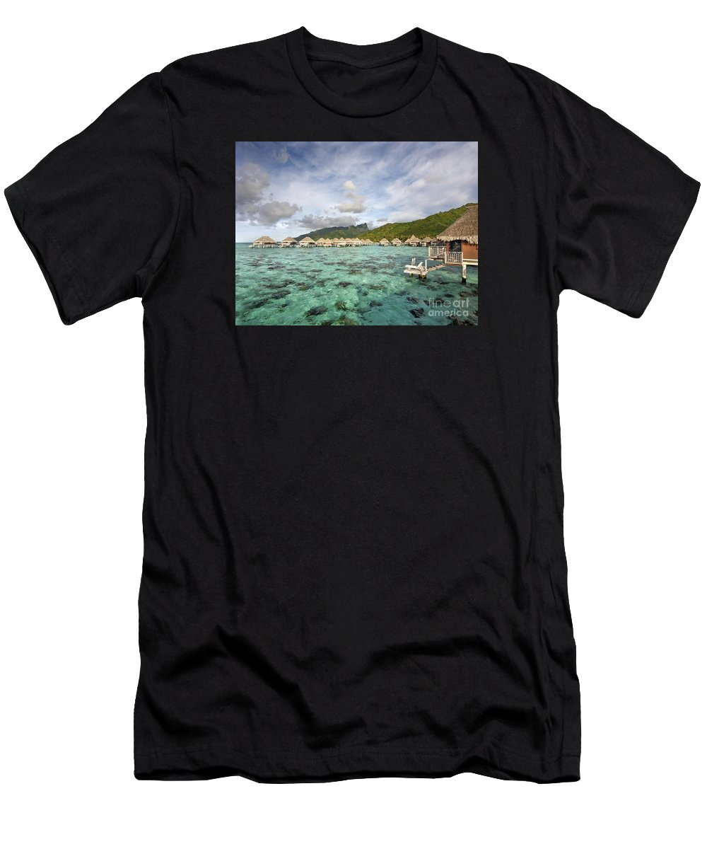 Above Men's T-Shirt (Athletic Fit) featuring the photograph Moorea Lagoon Resort by M Swiet Productions