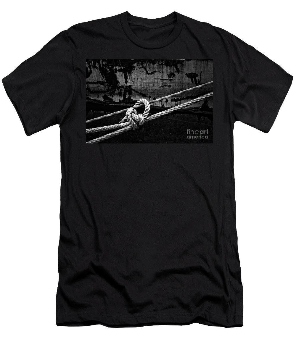 Rope Men's T-Shirt (Athletic Fit) featuring the photograph Moored by Brothers Beerens