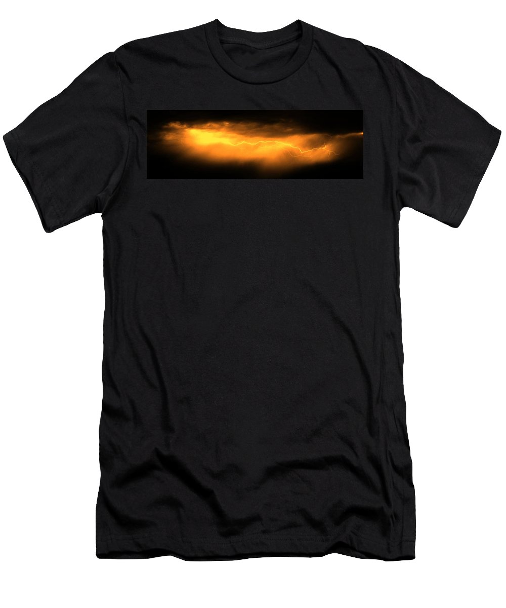 Stormscape Men's T-Shirt (Athletic Fit) featuring the photograph More Late Night Servere Nebraska Storms by NebraskaSC