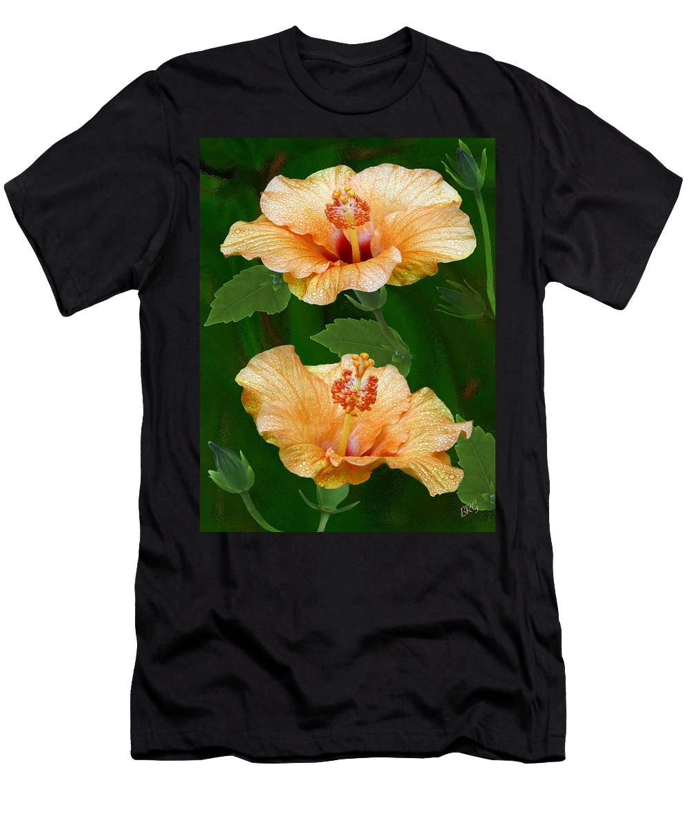 Orange Hibiscus Men's T-Shirt (Athletic Fit) featuring the photograph Morning Blooms - Hibiscus by Ben and Raisa Gertsberg