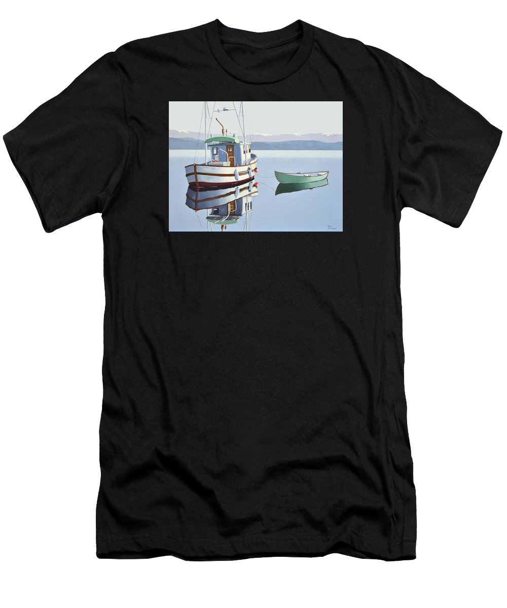Fishing Boat Men's T-Shirt (Athletic Fit) featuring the painting Morning Calm-fishing Boat With Skiff by Gary Giacomelli