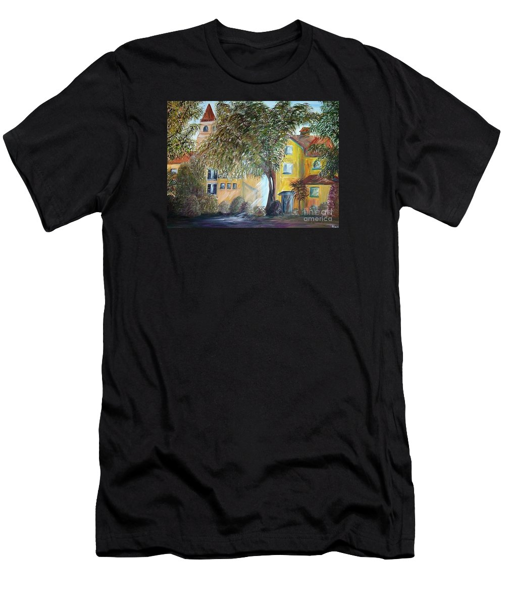 Tuscany Men's T-Shirt (Athletic Fit) featuring the painting Morning In The Old Country by Eloise Schneider Mote
