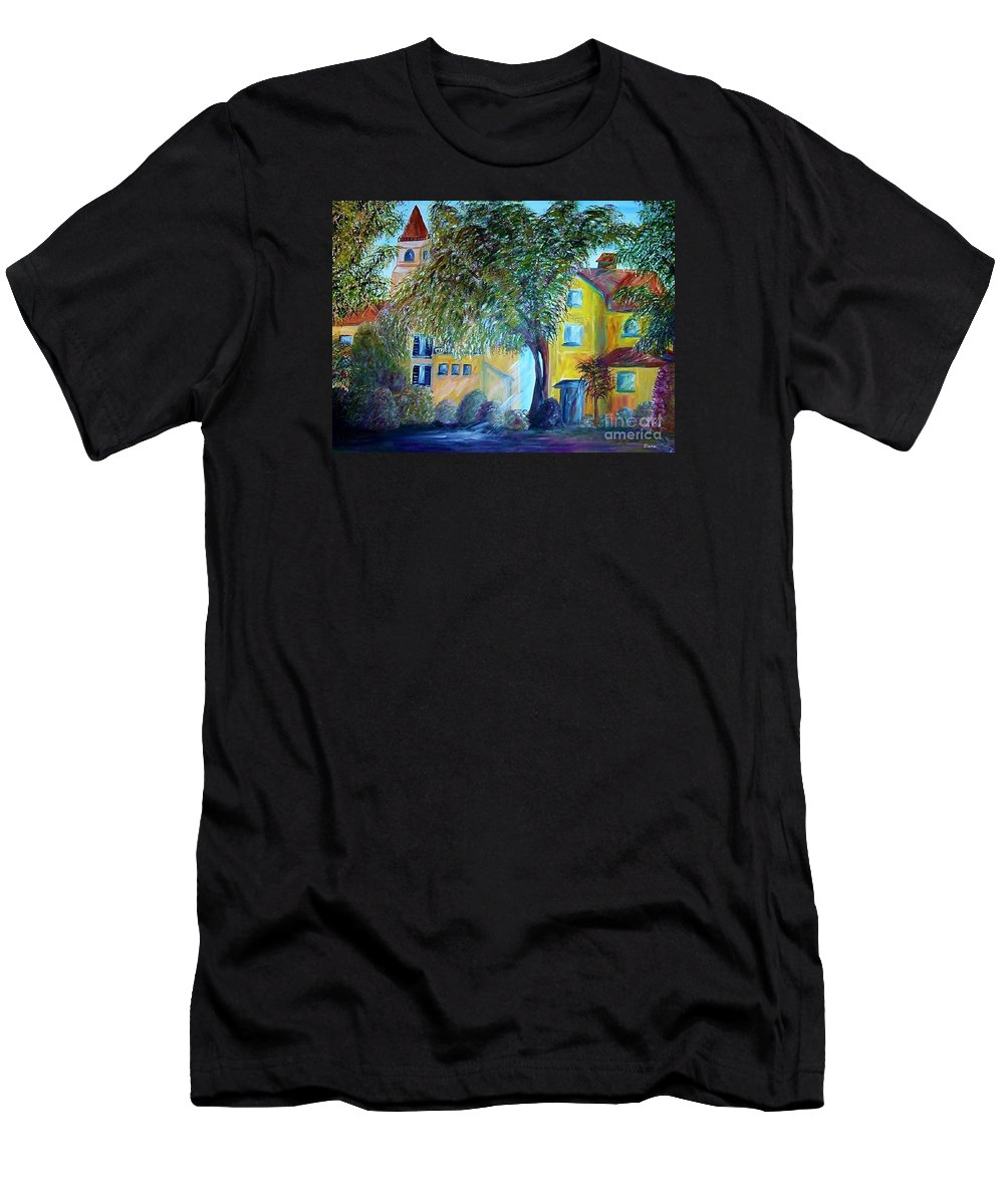 Tuscan Men's T-Shirt (Athletic Fit) featuring the painting Morning In Tuscany by Eloise Schneider Mote