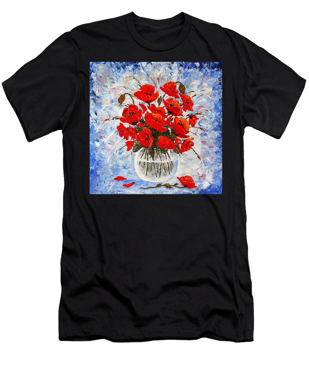 Red Poppies Men's T-Shirt (Athletic Fit) featuring the painting Morning Red Poppies Original Palette Knife Painting by Georgeta Blanaru