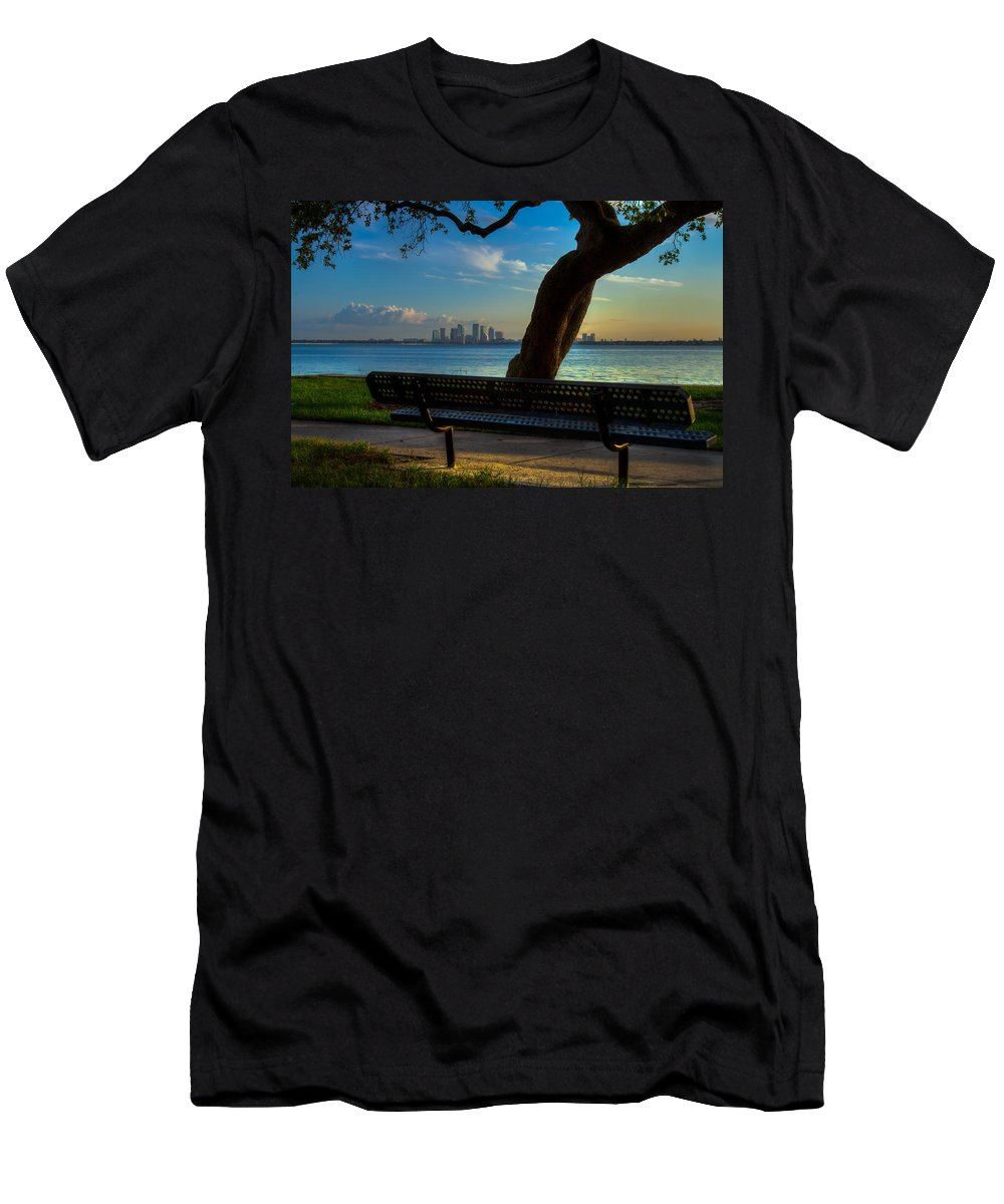 Tampa Florida Fl Bay Skyline Cityscape Ballast Point Park Morning Sunrise Hillsborough Men's T-Shirt (Athletic Fit) featuring the photograph Morning View by Karl Greeson