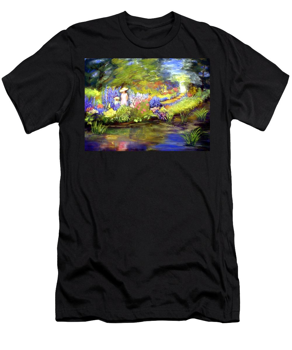 Flower Garden Men's T-Shirt (Athletic Fit) featuring the painting Mother And Daughter by Gail Kirtz