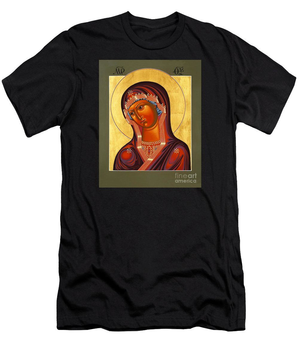 Mother Of God Similar To Fire Men's T-Shirt (Athletic Fit) featuring the painting Mother Of God Similar To Fire 007 by William Hart McNichols