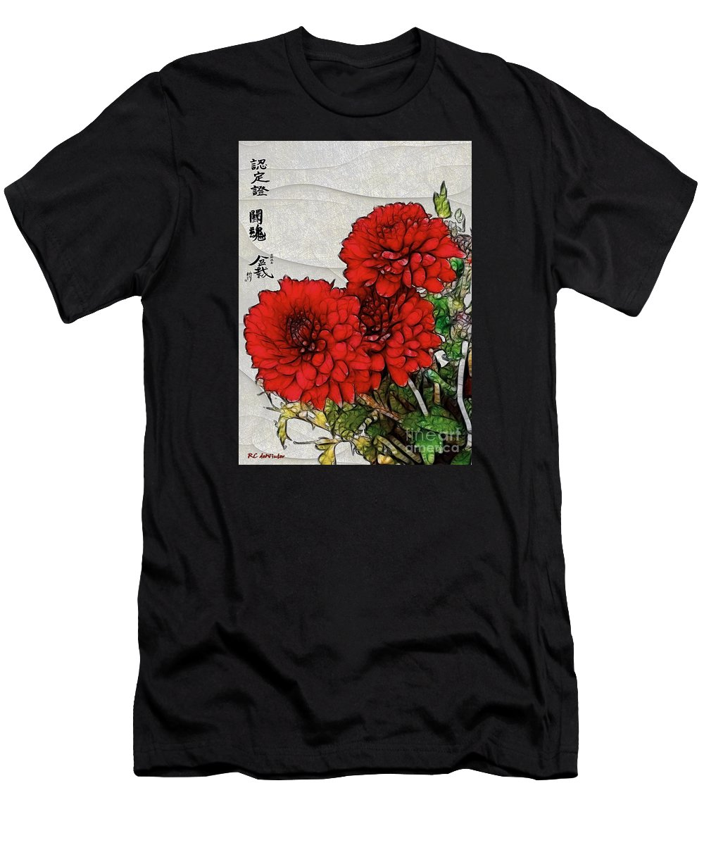 Chrysanthemums Men's T-Shirt (Athletic Fit) featuring the painting Motif Japonica No. 7 by RC DeWinter