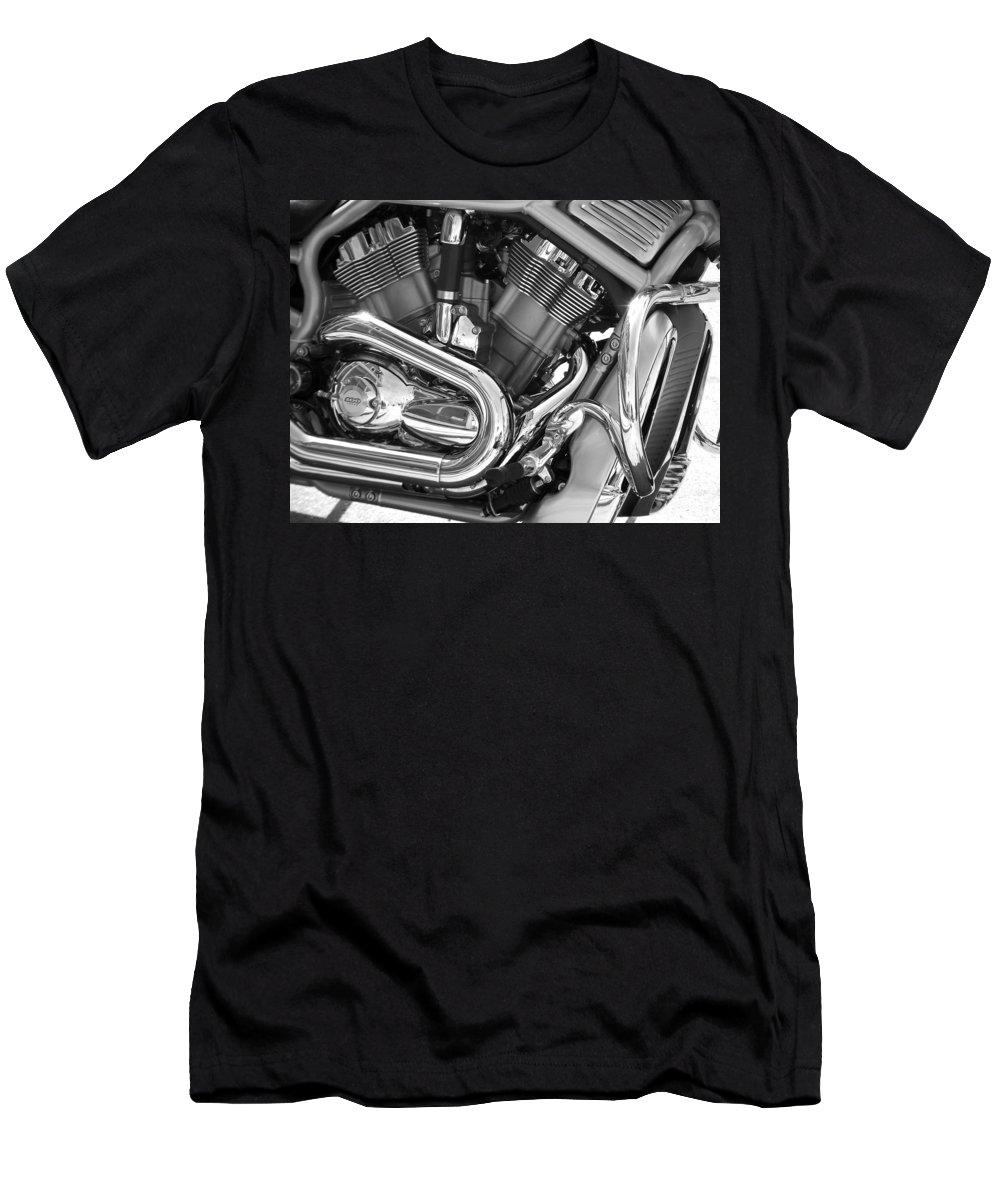 Motorcycles Men's T-Shirt (Athletic Fit) featuring the photograph Motorcycle Close-up Bw 1 by Anita Burgermeister