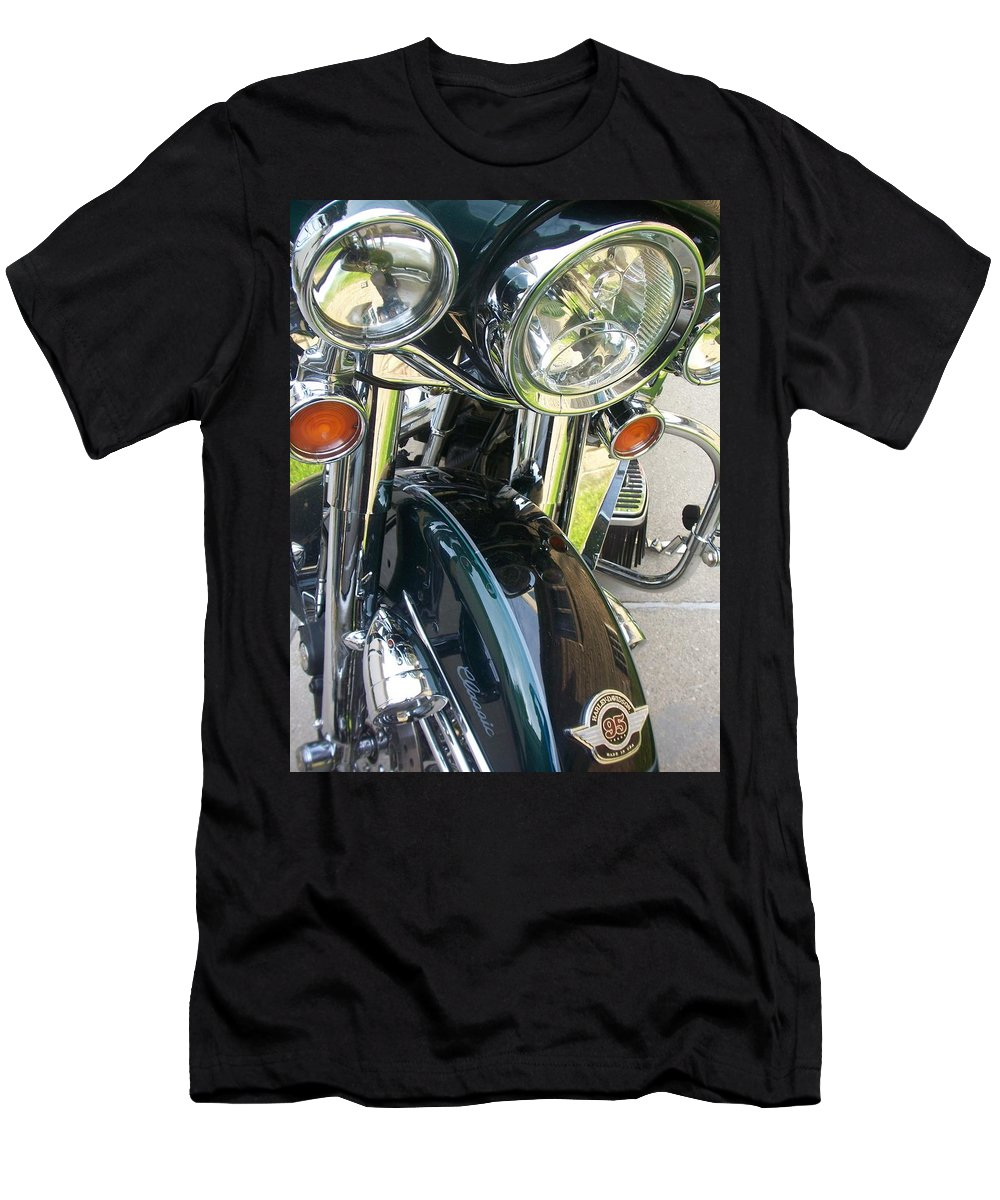 Motorcycles Men's T-Shirt (Athletic Fit) featuring the photograph Motorcyle Classic Headlight by Anita Burgermeister
