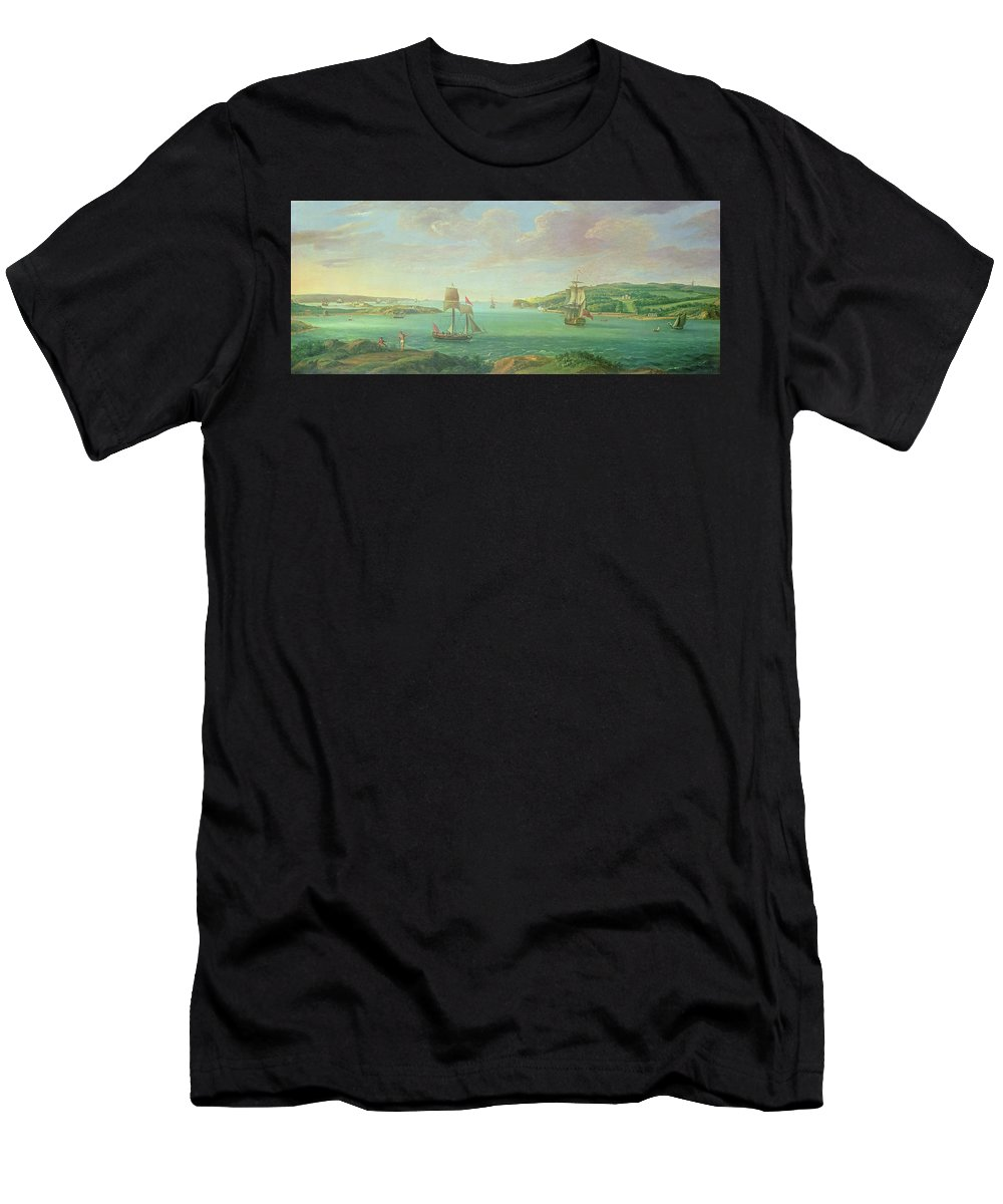 Plymouth Sound Men's T-Shirt (Athletic Fit) featuring the painting Mount Edgcumbe by Banfield