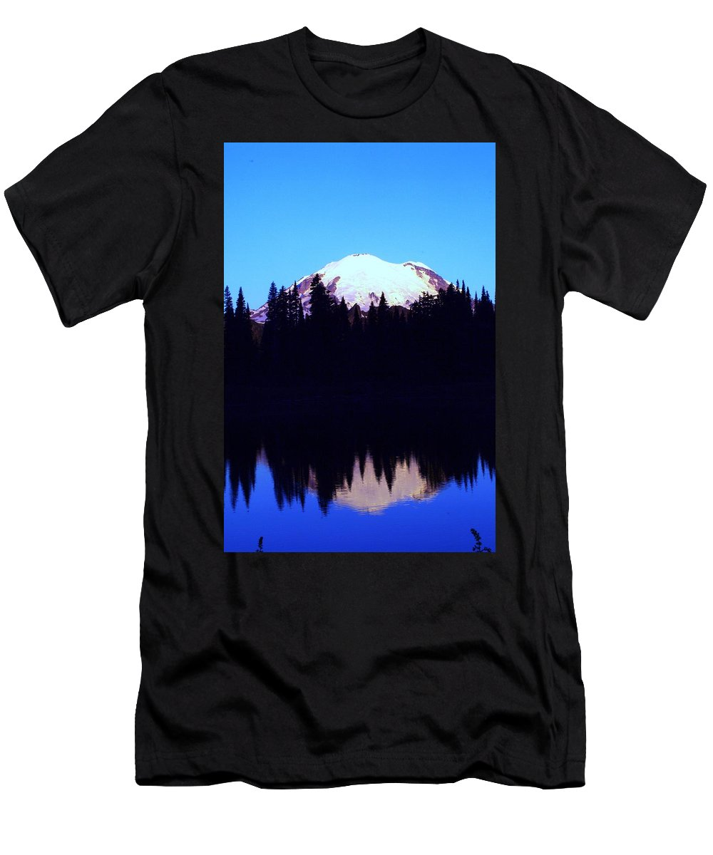 Washington State Men's T-Shirt (Athletic Fit) featuring the photograph Mount Rainer At Tipsoe Lake In The Sunrise by Jeff Swan