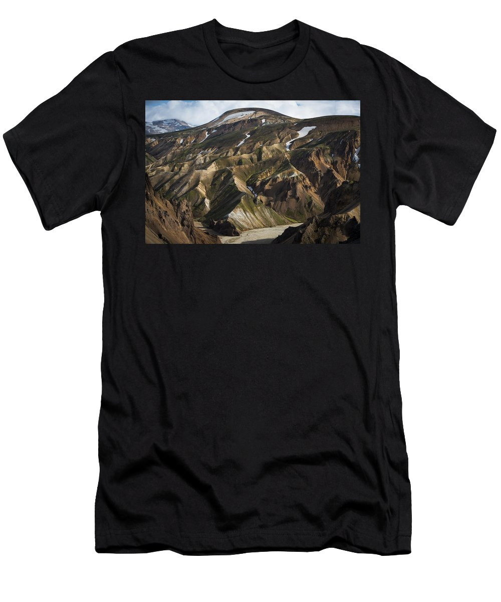Feb0514 Men's T-Shirt (Athletic Fit) featuring the photograph Mount Skalli From Mount Blahnukur by Rob Brown