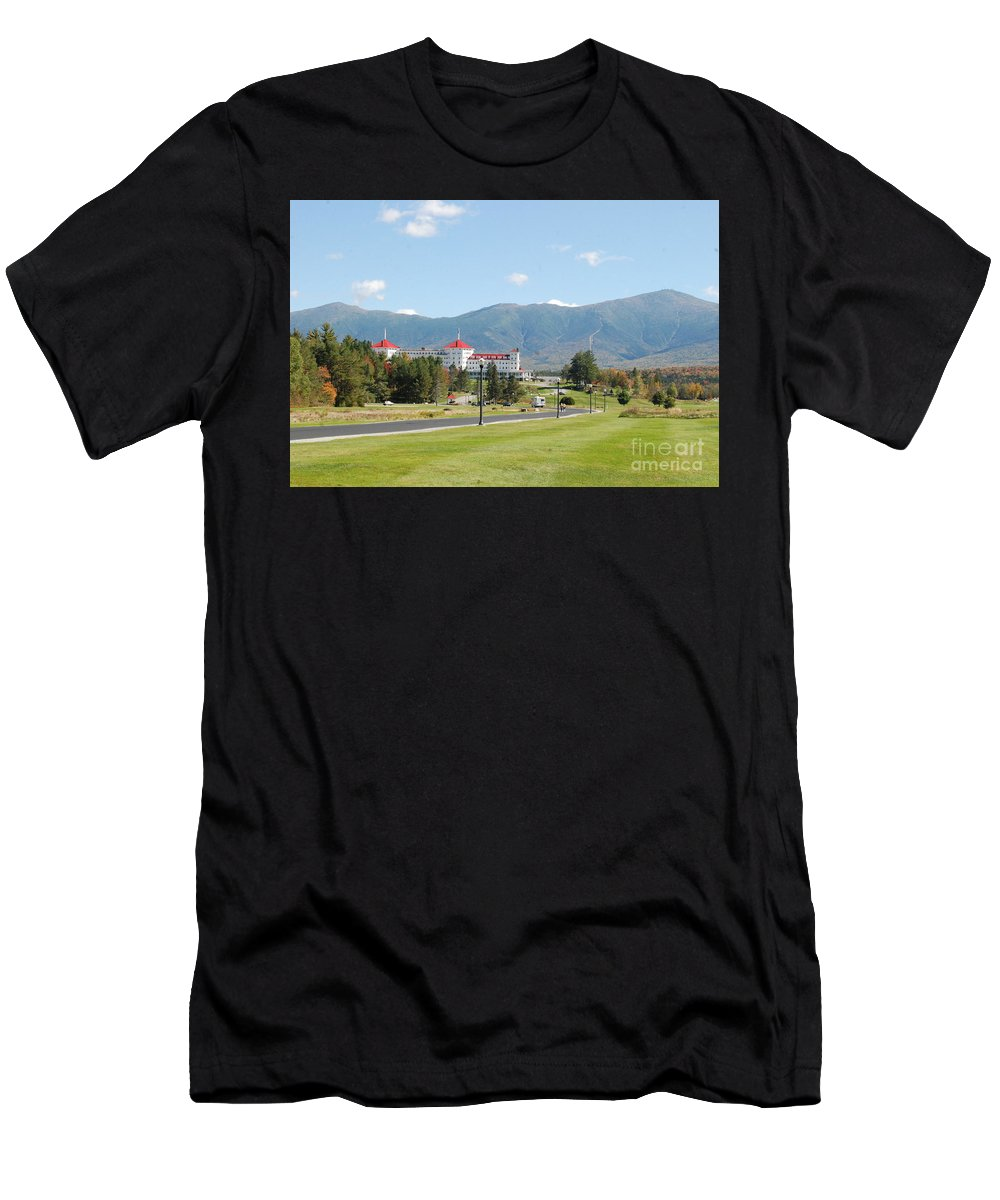 New Hampshire White Mountain Hotel Men's T-Shirt (Athletic Fit) featuring the photograph Mount Washington Hotel In New Hampshires White Mountains by Eunice Miller